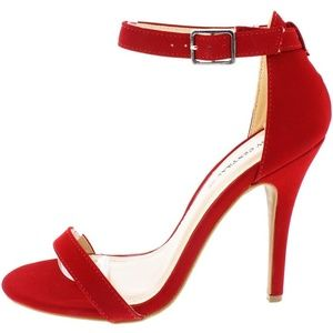 Enza Lipstick Red Ankle Strap Heels